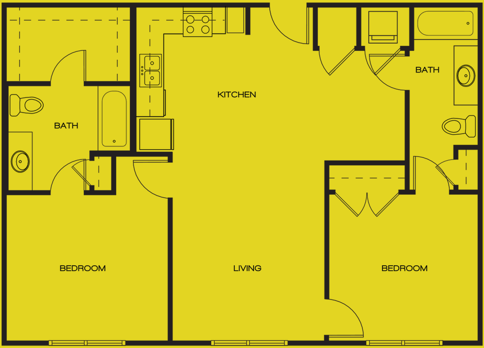 1,048 sq. ft. MAGNOLIA floor plan