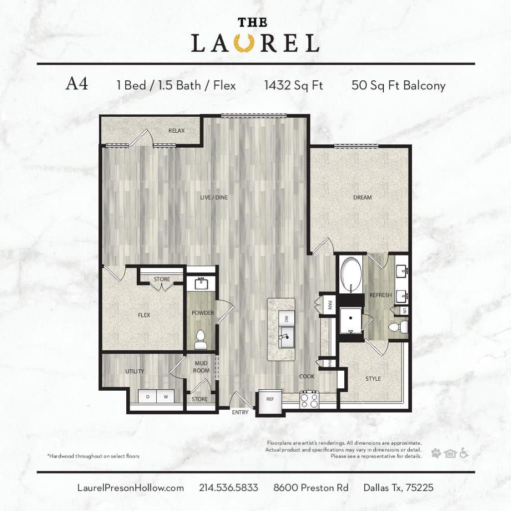 1,432 sq. ft. A4 floor plan