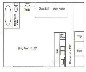 400 sq. ft. EFF2 floor plan