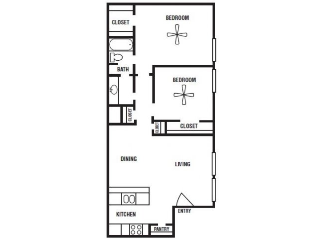 876 sq. ft. floor plan