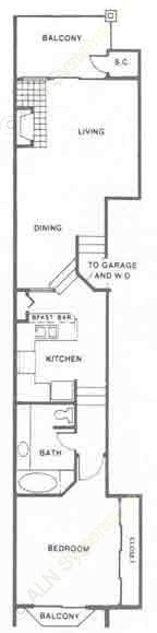 836 sq. ft. A1 floor plan
