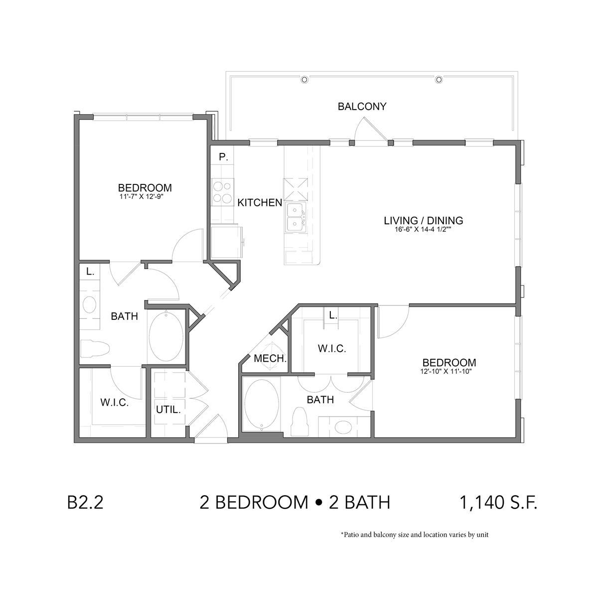 1,215 sq. ft. B2.2 floor plan