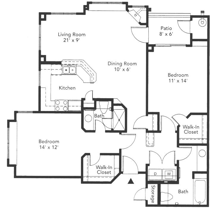 1,064 sq. ft. Cordova floor plan