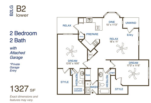 1,327 sq. ft. B3 floor plan