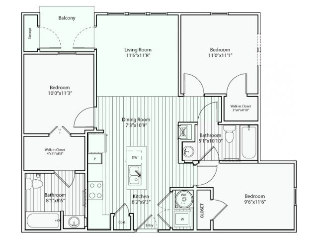 1,043 sq. ft. C1 60% floor plan