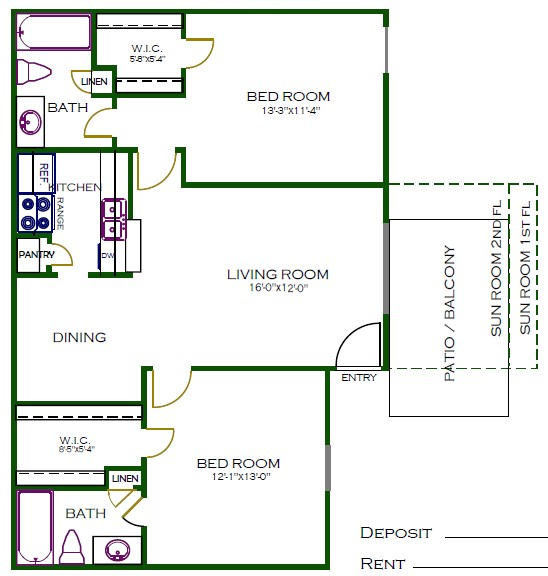 946 sq. ft. C1 floor plan