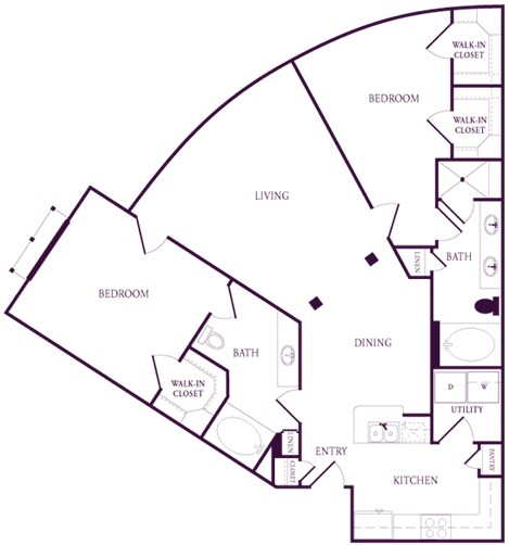 1,287 sq. ft. A-D1S floor plan