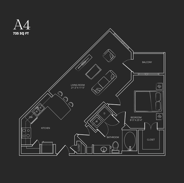 735 sq. ft. A4 floor plan