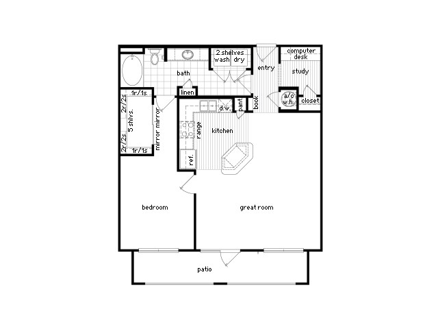 951 sq. ft. A6 floor plan