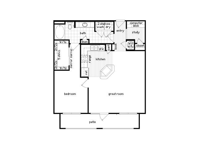 951 sq. ft. A6 floor plan