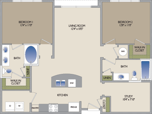 1,195 sq. ft. Montrose floor plan