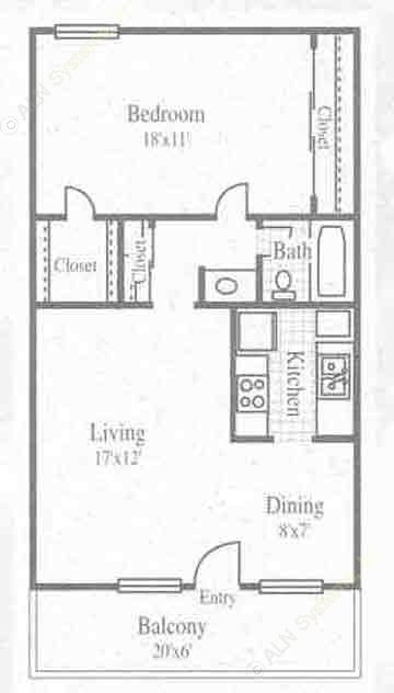 653 sq. ft. 1/1 floor plan