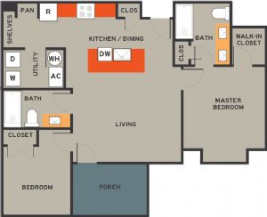 979 sq. ft. 30% floor plan