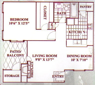 708 sq. ft. C floor plan