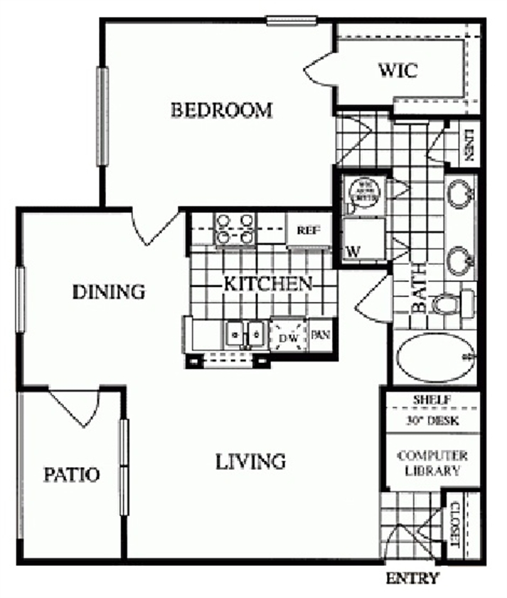 802 sq. ft. Greenbriar/C floor plan
