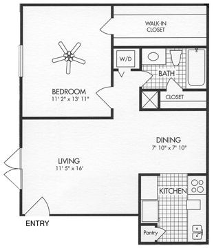643 sq. ft. A7 floor plan