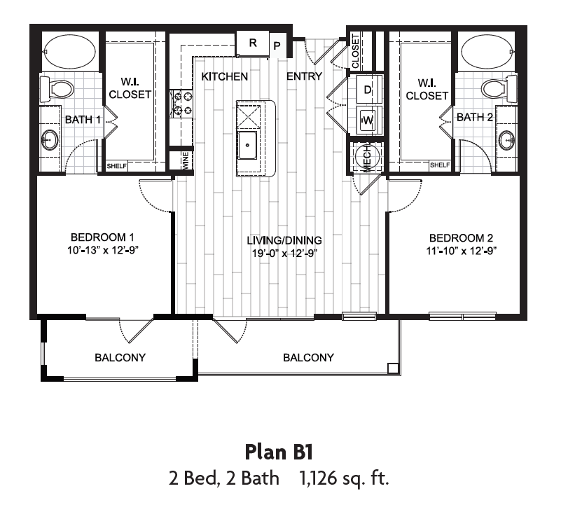 1,126 sq. ft. floor plan