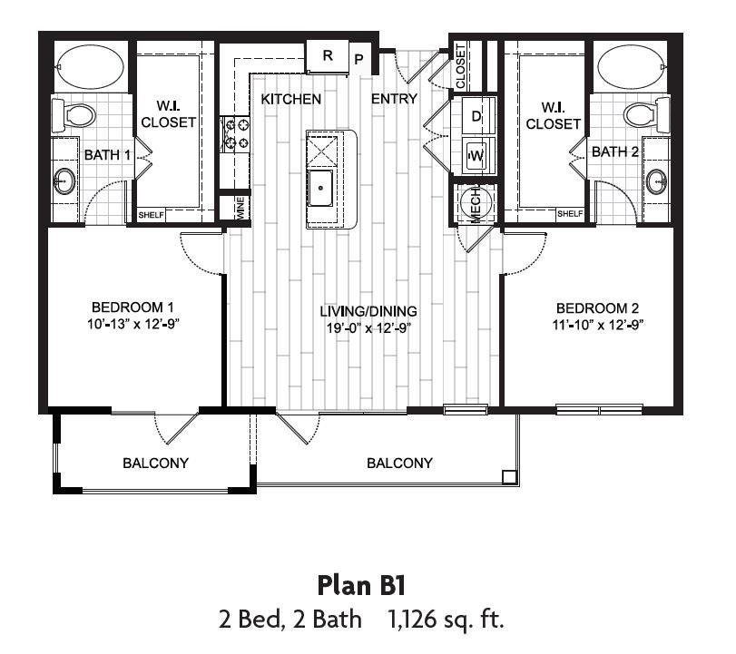 1,126 sq. ft. floor plan