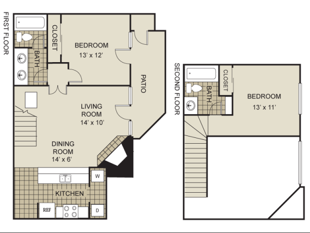 983 sq. ft. B2-B floor plan