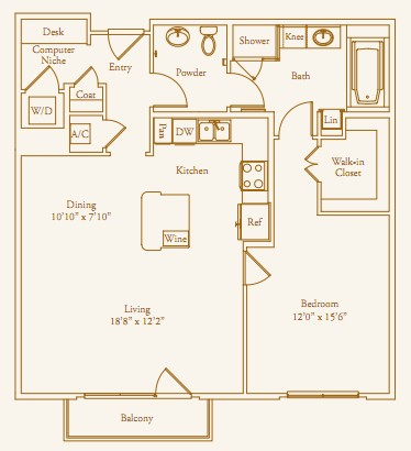 1,006 sq. ft. Chilton floor plan