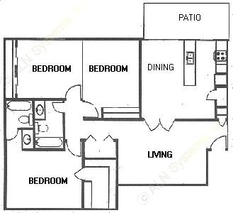 1,274 sq. ft. floor plan