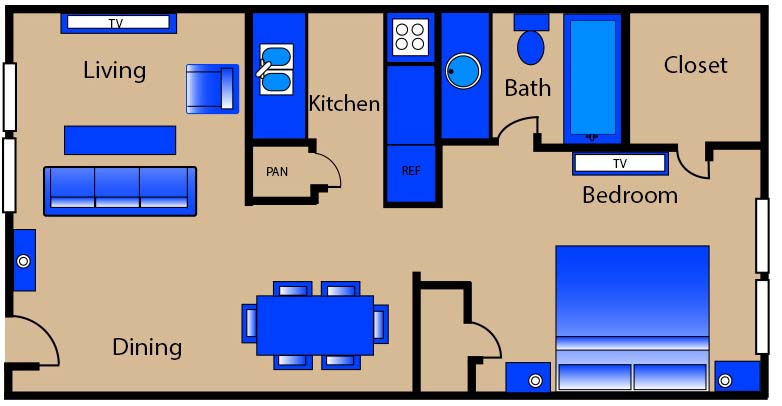 515 sq. ft. A1 floor plan