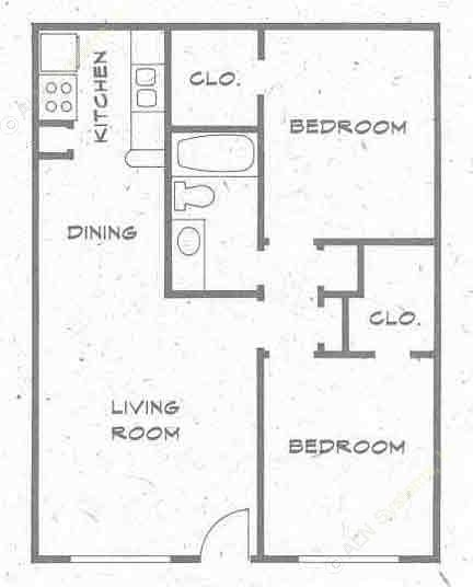 806 sq. ft. B4 PH I floor plan