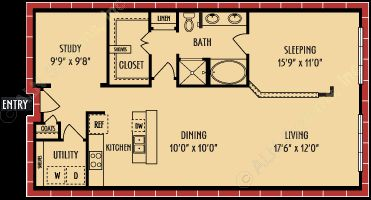 1,075 sq. ft. A11 floor plan
