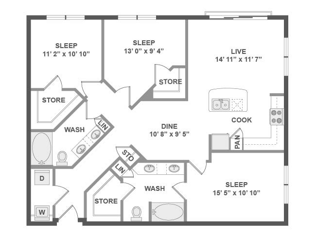 1,350 sq. ft. D4 floor plan