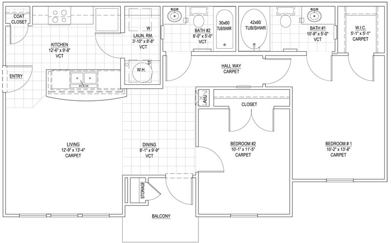 936 sq. ft. 60% floor plan