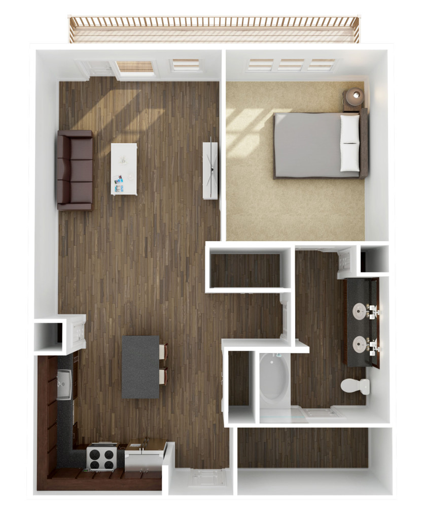 895 sq. ft. A5 floor plan