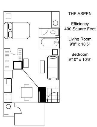400 sq. ft. Aspen floor plan