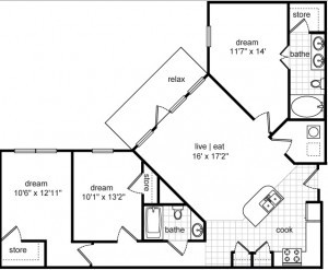 1,325 sq. ft. Donovan floor plan