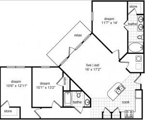 1,325 sq. ft. Donovan floor plan