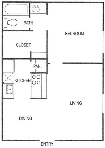 553 sq. ft. B floor plan