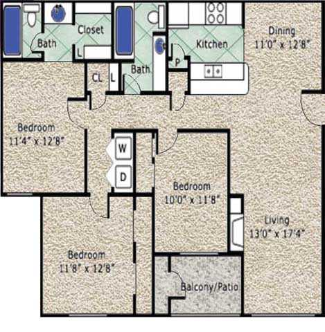 1,255 sq. ft. C floor plan