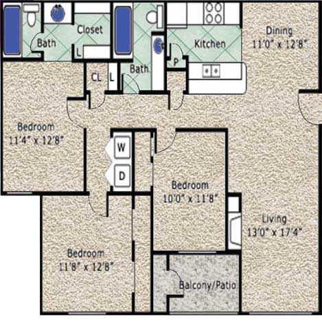 1,255 sq. ft. C floor plan