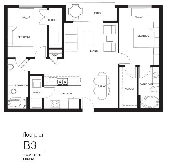 1,038 sq. ft. B3 floor plan