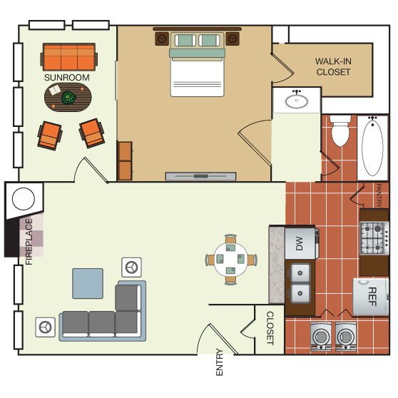 759 sq. ft. 1I floor plan