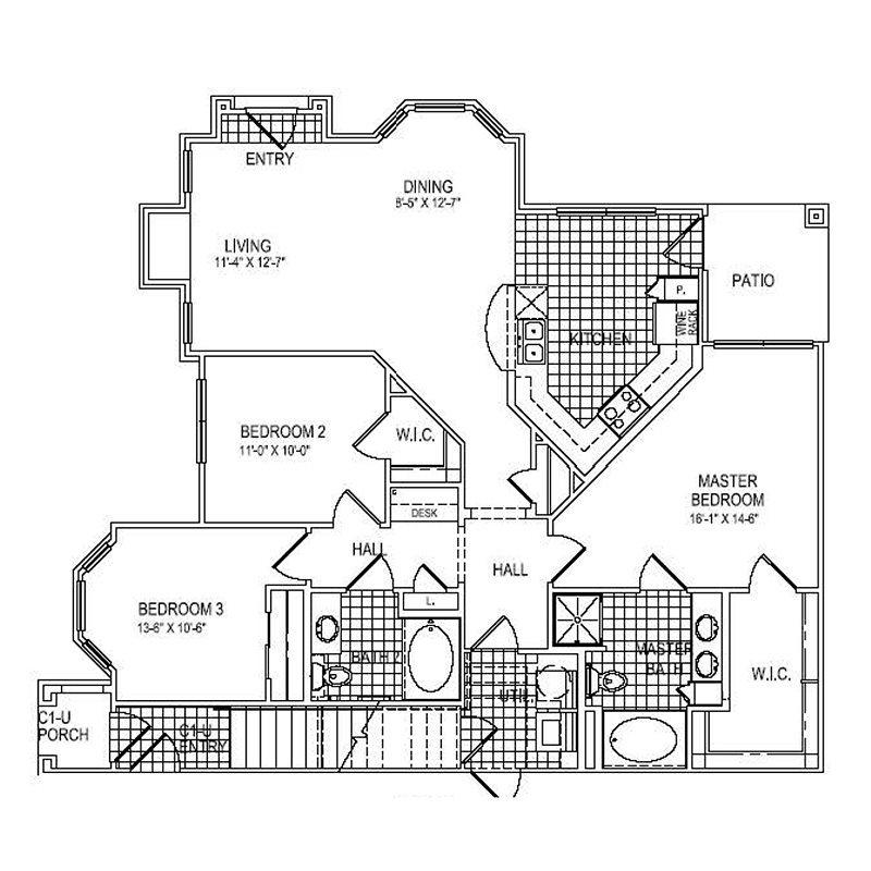 1,376 sq. ft. C1 floor plan