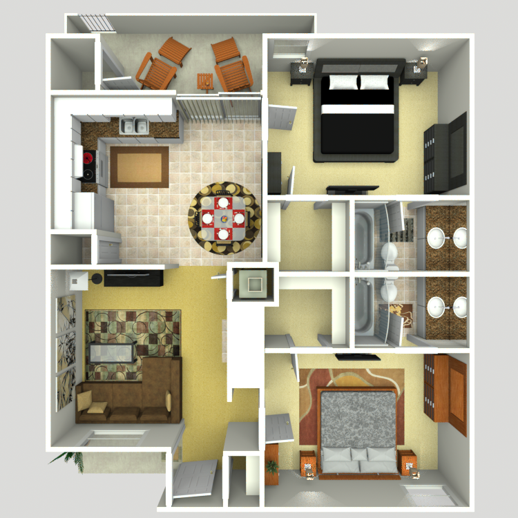 864 sq. ft. E floor plan
