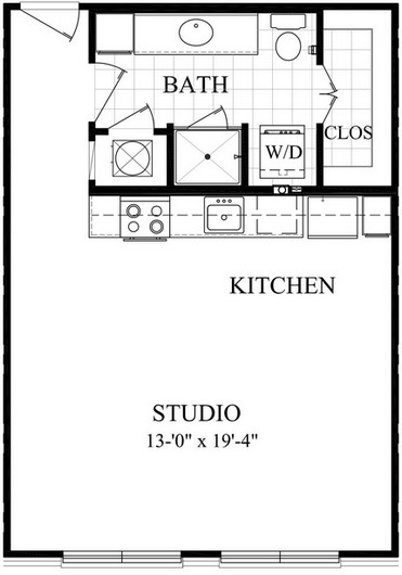 560 sq. ft. AE floor plan