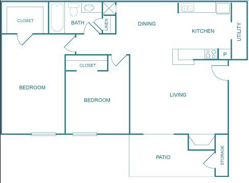 862 sq. ft. D floor plan
