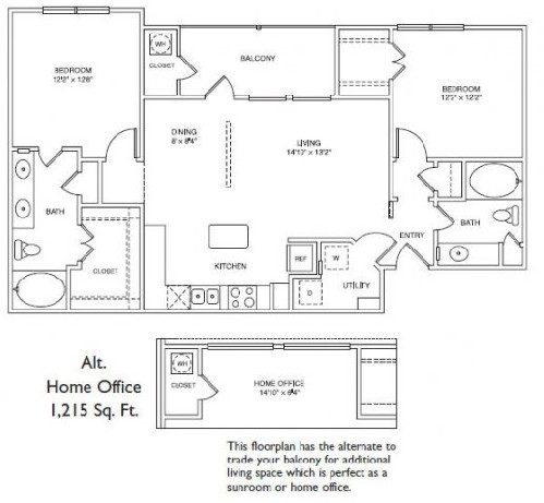 1,089 sq. ft. LB3 floor plan