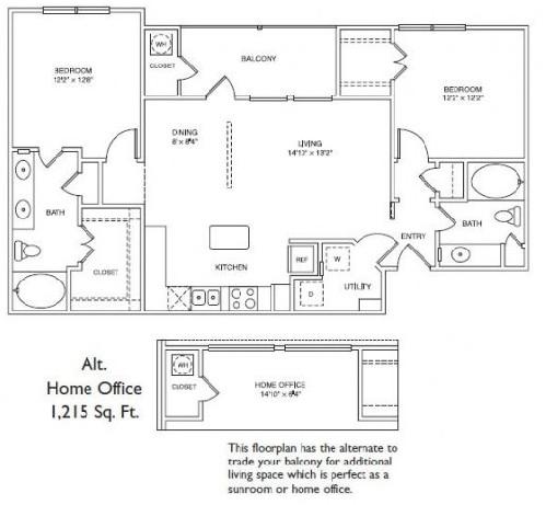 1,215 sq. ft. LB3H floor plan