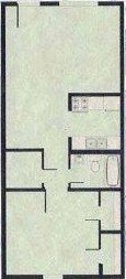 695 sq. ft. A floor plan
