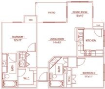 963 sq. ft. B2 waterford floor plan