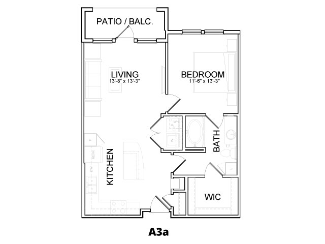 743 sq. ft. A3A floor plan