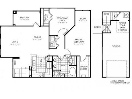 1,200 sq. ft. Anaqua Springs floor plan