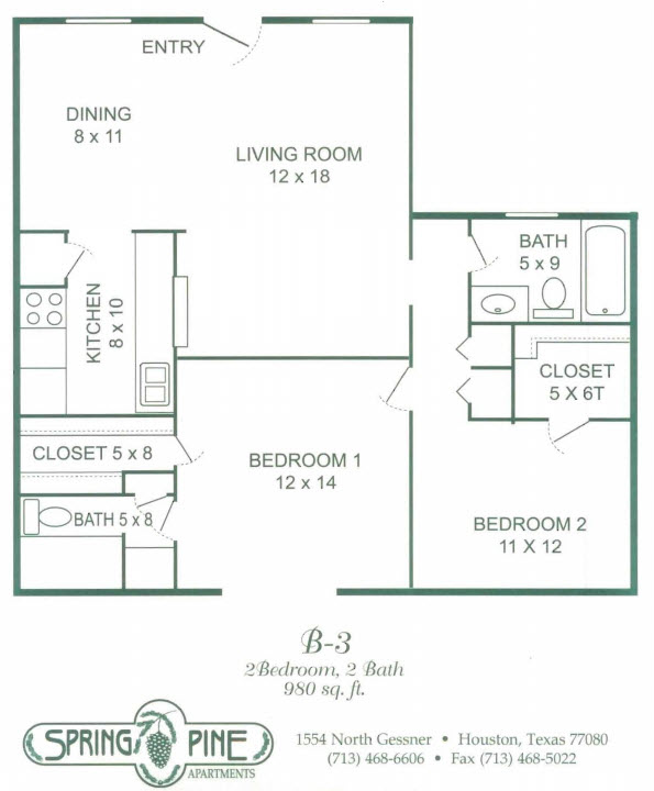 980 sq. ft. B3 floor plan